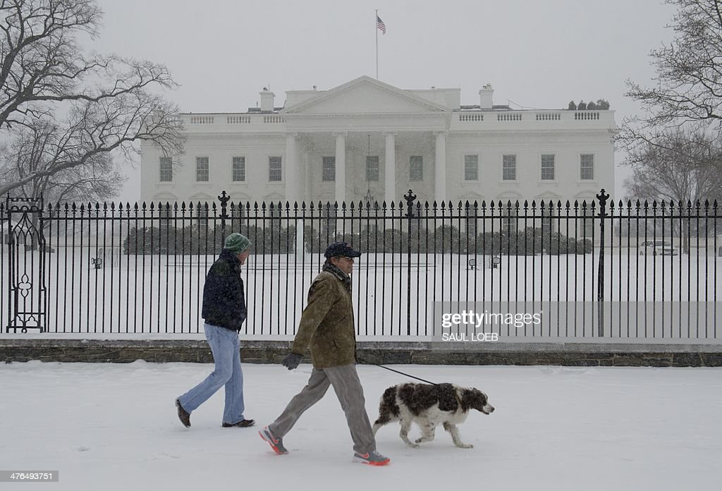 People walk a dog during a snow storm in front of the White House in Washington, DC, March 3, 2014. Snow began falling in the nation's capital early Monday, and officials warned people to stay off treacherous, icy roads a scene that has become familiar to residents in the Midwest, East and even Deep South this year. Schools were canceled, bus service was halted in places and federal government workers in the DC area were told to stay home Monday. AFP PHOTO / Saul LOEB