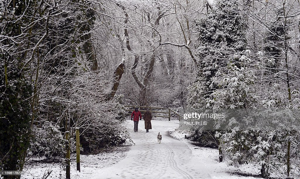 People walk a dog through a snow covered Arrowe Park in Birkenhead, northwest England, on January 21, 2013. Britain is braced for a continuation of the bad weather which has left closed schools and caused transport chaos in recent days, with several weather warnings in place.