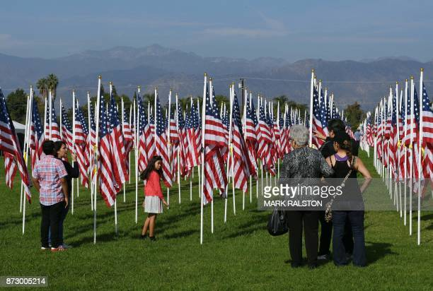 TOPSHOT People walk amid thousands of flags in tribute to the memory of veterans of the US military during the Veterans Day celebrations in Covina...