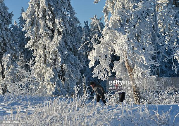 People walk at the snow covered Feldberg mountain in the Taunus area central Germany after the first snow fall on December 28 2014 AFP PHOTO / DPA /...