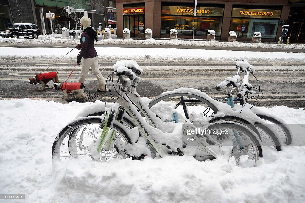 People walk by a frozen bikes after winter storm Nemo covered New York City with 4 to 8 inches (10-20cms) of snow on February 9, 2013. The storm was forecast to bring the heaviest snow to the densely-populated northeast corridor so far this winter, threatening power and transport links for tens of millions of people and the major cities of Boston and New York. New York and other regional airports saw more than 4,500 cancellations ahead of what the National Weather Service called 'a major winter storm with blizzard conditions' along most of the region's coastline.