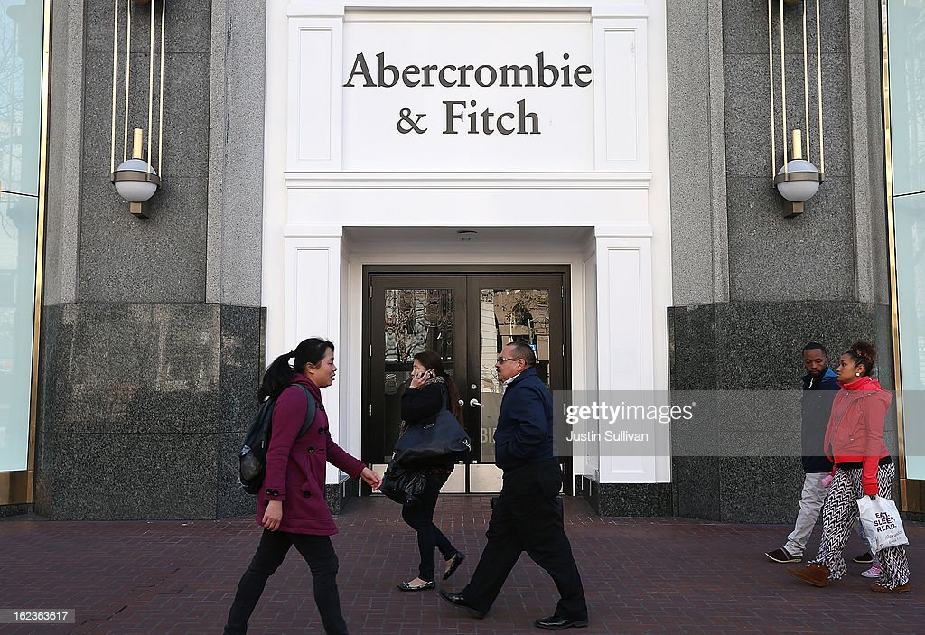 People walk by an Abercrombie and Fitch store on February 22, 2013 in San Francisco, California. Clothing retailer Abercrombie and Fitch reported a surge in fourth quarter revenue with earnings of $157.2 million, or $1.95 per share compared to $45.8 million, or 52 cents per share one year ago.