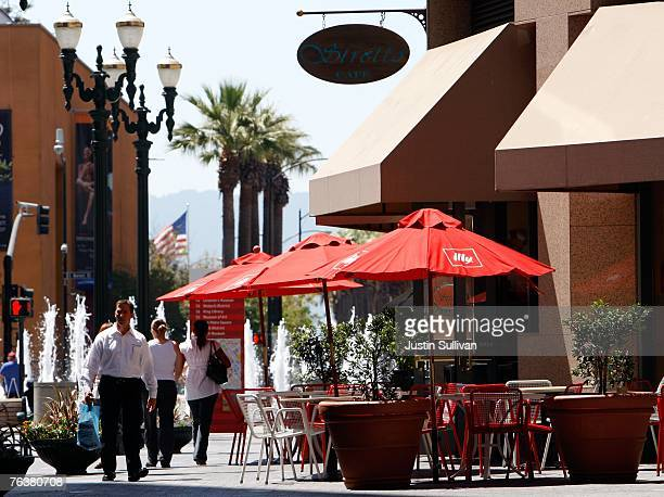 People walk by an outdoor cafe August 29 2007 in downtown San Jose California The US Census Bureau released its newest population survey today and...