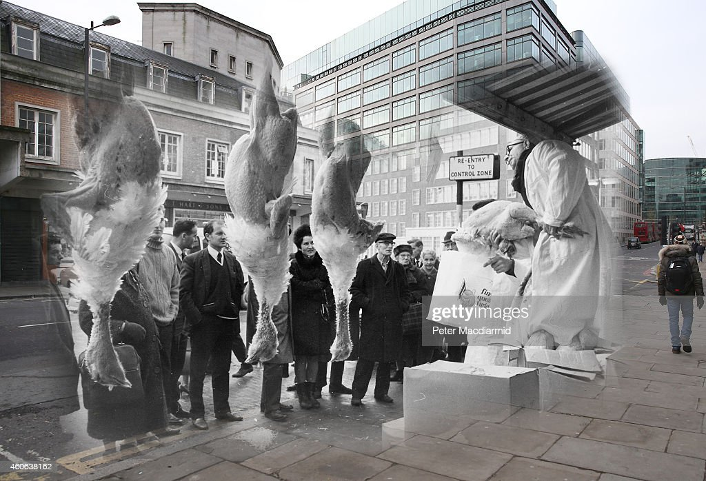 In this digital composite image a comparison has been made of London at Smithfield Market in 1968 (Archive, Keystone) and Modern Day 2014 (Peter Macdiarmid) at Christmas time. LONDON, ENGLAND - DECEMBER 9: People walk by Smithfield Market on December 9, 2014 in London, England. Christmas is an annual religious feast day originally set on December 25 to celebrate the birth of Jesus Christ and is a cultural festival and public holiday celebrated by billions of people around the world.