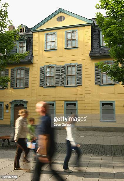 People walk by the former home of German poet and playwright Friedrich Schiller on June 4 2009 in Weimar Germany Schiller among Germany's greatest...