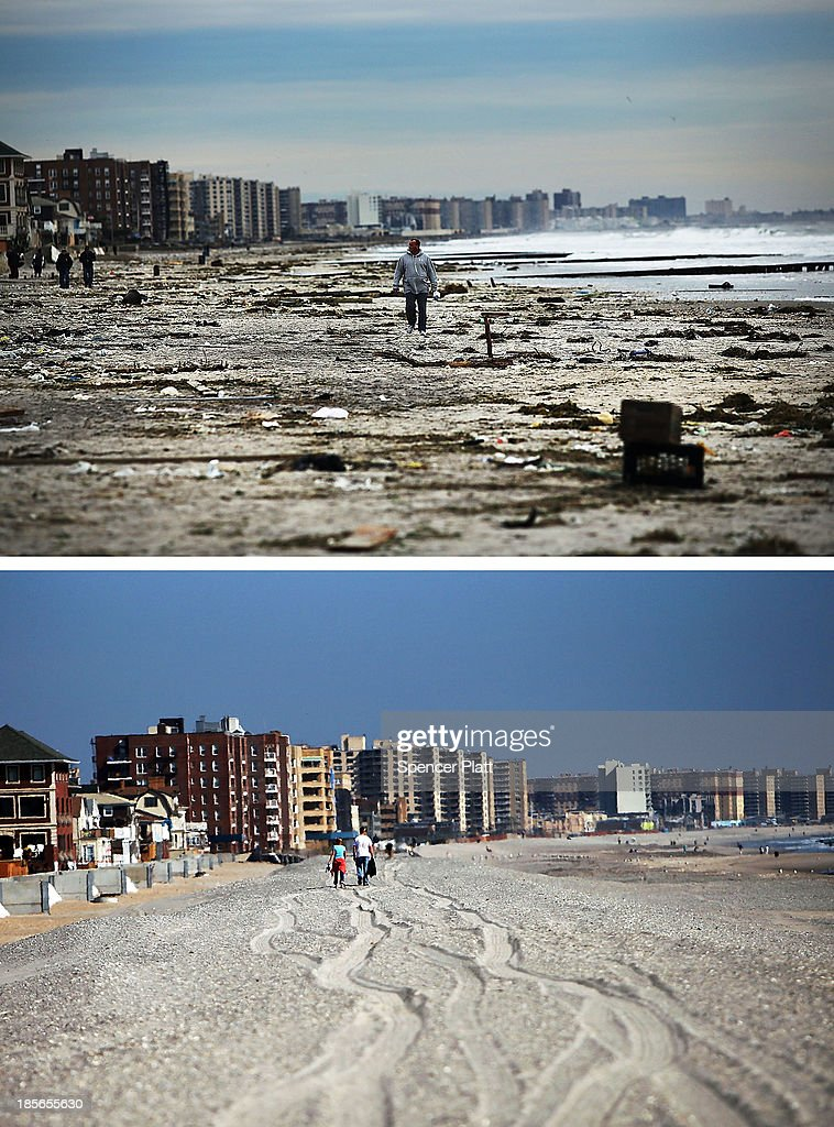 A man walks along the heavily damaged beach on November 2 2012 in Rockaway neighborhood of the Queens borough of New York City NEW YORK NY OCTOBER 23...
