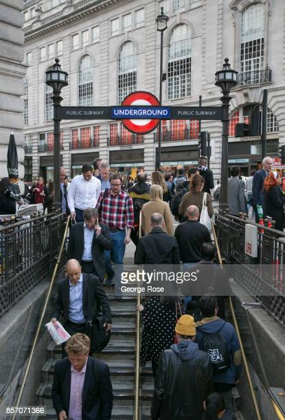 People walk down to the Underground train station at Piccadilly on September 12 in London England Great Britain's move toward 'Brexit' or the...