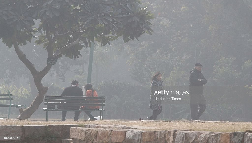 People walk in a foggy and cold morning at Lodi Garden on January 6, 2013 in New Delhi, India. Setting a new low for temperature this winter, mercury in the national capital on Sunday fell to 1.9 degrees Celsius - five notches below average. This is the lowest recorded in Delhi in five years.