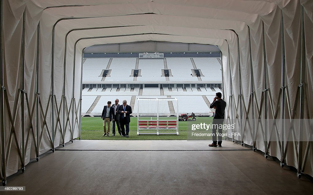 People walk in a tunnel during the 2014 FIFA World Cup Host City Tour at the Arena Sao Paulo on May 19, 2014 in Sao Paulo, Brazil.