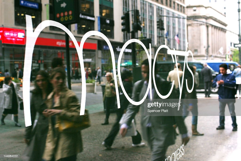 People walk in front of Macy's flagship store on May 9, 2012 in New York City. Beating Wall Street's expectations, Macy's Inc. reported a 38 percent increase in its first-quarter profit for the department store.