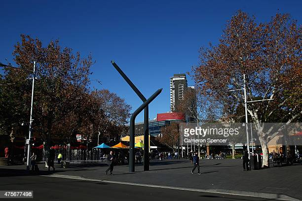 People walk in Parramatta Square in central Parramatta on June 3 2015 in Sydney Australia Parramatta is about to become one of Australia's biggest...