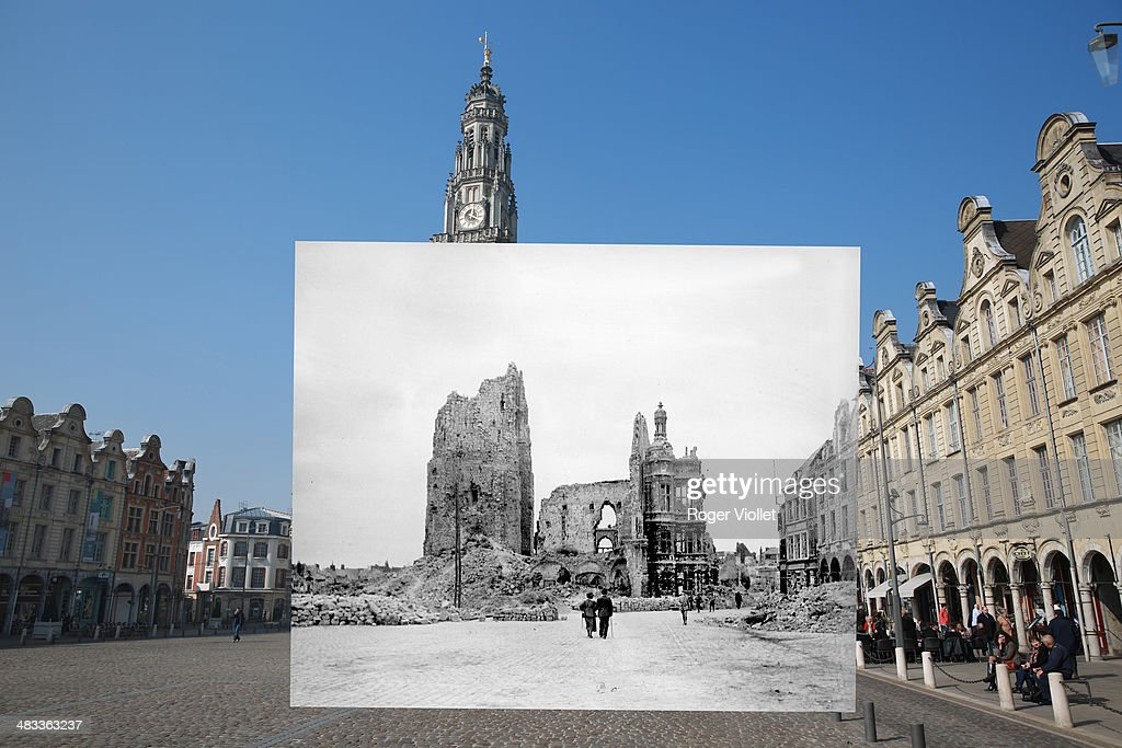 In this composite image a comparison has been made of Place des Heros. Commemorations of The First World War Centenary begin in 2014 and will last until 2018. People walk near Place des Heros on March 14, 2014 in Arras, France. A number of events will be held this year to commemorate the centenary of the start of World War One. (Photo by Peter Macdiarmid/Getty Images World War I, The town hall and the belfry of Arras in ruins, seen from the main square (Pas-de-Calais).