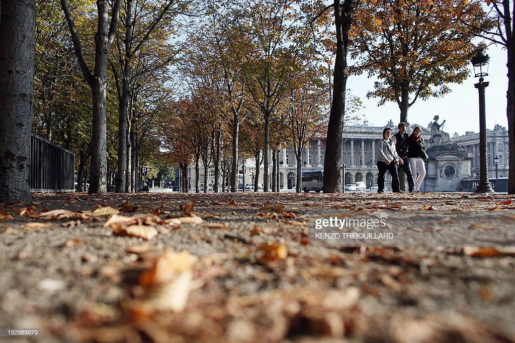 People walk on a pavement covered with leaves, on September 22, 2012 at the place de la Concorde in Paris.
