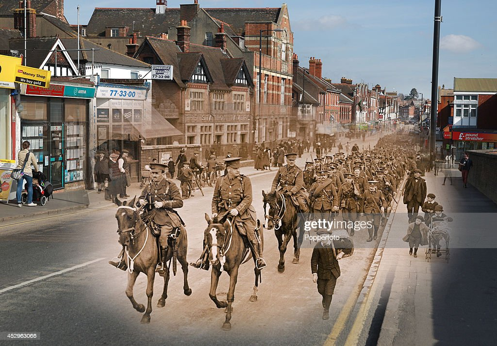 In this composite image a comparison has been made of Railway Approach Road. Commemorations of The First World War Centenary begin in 2014 and will last until 2018. People walk on Railway Approach Road on March 20, 2014 in Tonbridge, England. A number of events will be held this year to commemorate the centenary of the start of World War One. A vintage postcard of the 4th King's Own Royal Lancers Regiment marching into Tonbridge during World War One, circa March 1915.
