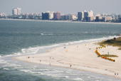 People walk on the beach in Tampa Bay Florida on early May 21 2008 AFP Photo/Paul J Richards
