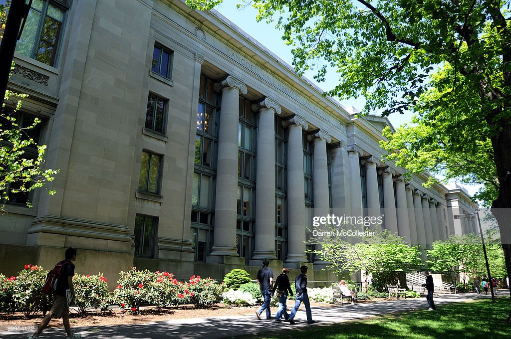 People walk outside Harvard Law School's Langdell Hall on May 10 2010 at Harvard University in Cambridge Massachusetts US President Barack Obama...
