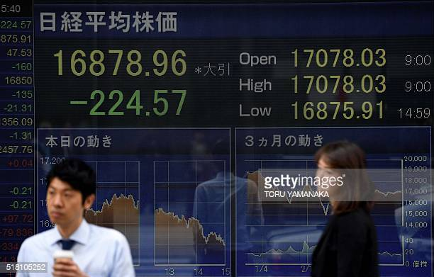 People walk past a board flashing the Nikkei key index of the Tokyo Stock Exchange in front of a securities company in Tokyo on March 30 2016 Tokyo...