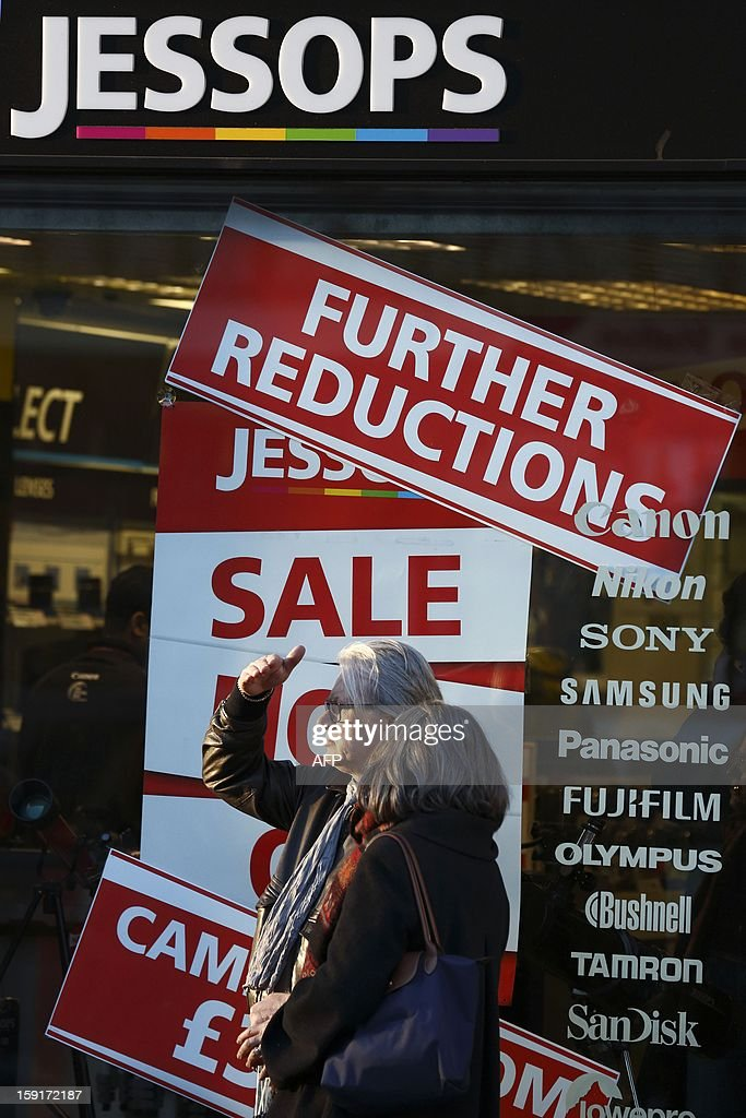 People walk past a branch of Jessops camera shop in Central London on January 9, 2013. British photographic chain Jessops went into adminstration on January 9, 2013, putting some 2,000 jobs at risk.