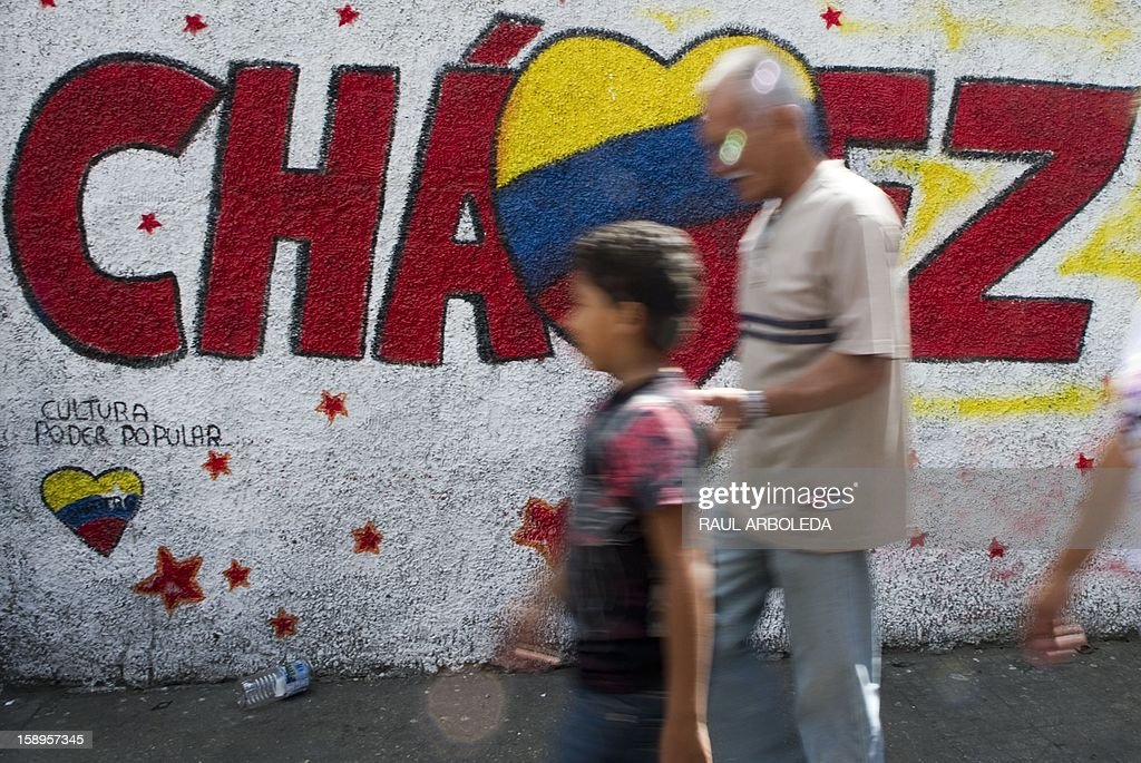 People walk past a graffiti in support of Venezuelan President Hugo Chavez in Caracas on January 4, 2013. Hugo Chavez's top aides have gone on the offensive, accusing the opposition and media of waging a 'psychological war,' as Venezuela's cancer-stricken president battles a serious lung infection. The closing of ranks followed a high-level gathering of top Venezuelan officials in Havana with Chavez, amid growing demands to know whether he will be fit on January 10 to take the oath of office for another six-year-term. AFP PHOTO/Raul ARBOLEDA