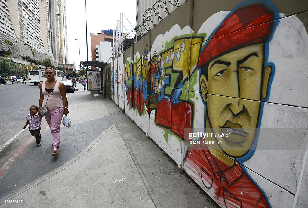 People walk past a mural of Venezuelan President Hugo Chavez in Caracas on December 31, 2012. Vice President Nicolas Maduro reported on national radio and television from Havana that President Chavez suffered further complications from respiratory infection that arose after undergoing surgery on December 11. AFP PHOTO/JUAN BARRETO
