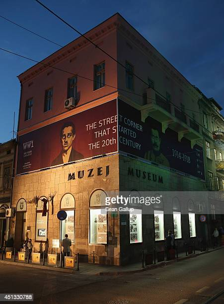 People walk past a museum dedicated to the assassination of Austrian Archduke Franz Ferdinand by Gavrilo Princip a Serbian secessionist who shot and...