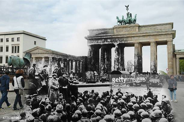 In this digital composite image a comparison has been made showing Russian and US troops in front of the ruins of the Brandenburg Gate at the end of...