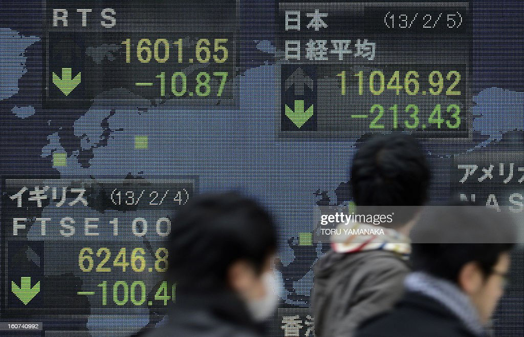 People walk past an electric quotation board flashing key indexes of main stock exchanges all over the world in front of a securities company in Tokyo on February 5, 2013. Tokyo stocks closed 1.90 percent lower on February 5 as political concerns in Spain and Italy put the eurozone's long-running debt crisis back on to the radar. AFP PHOTO/Toru YAMANAKA