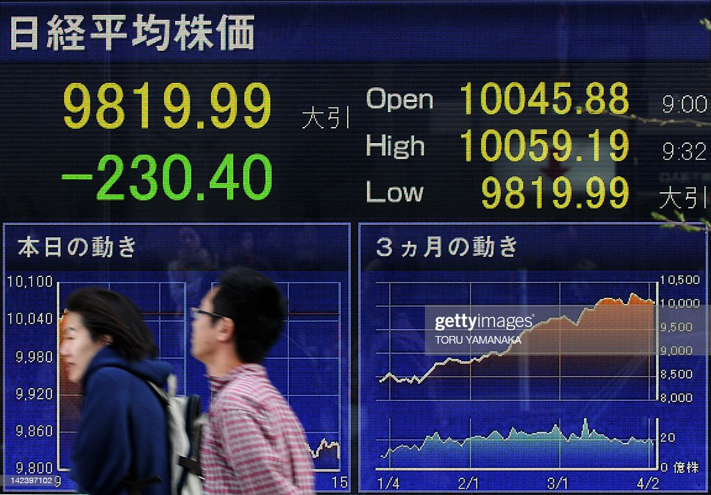 People walk past an electric quotation board flashing the Nikkei key index of the Tokyo Stock Exchange in front of a securities company in Tokyo on...