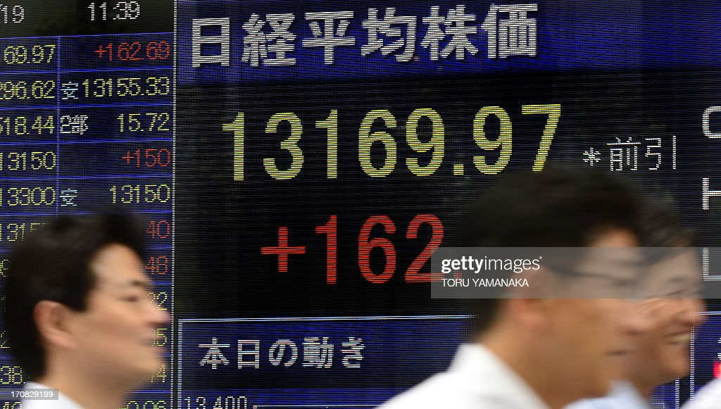 People walk past an electric quotation board flashing the Nikkei key index of the Tokyo Stock Exchange (TSE) in front of a securities company in Tokyo on June 19, 2013. Tokyo stocks were up 1.25 percent by the morning break on June 19, following gains on Wall Street and as official data showed Japan's exports soared in May on a weaker yen. AFP PHOTO/Toru YAMANAKA