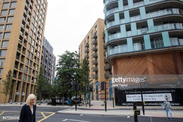 People walk past the Catford Green development in Lewisham on August 22 2017 in London England Over the last decade the landscape of South London has...