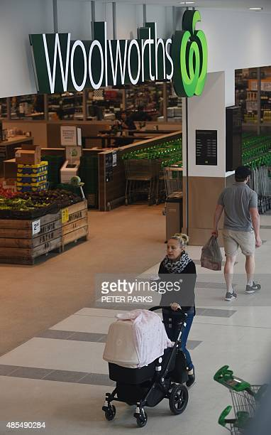 People walk past the entrance to a Woolworths store in Sydney on August 28 2015 Australian supermarket giant Woolworths on August 28 posted a 125...