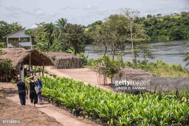 People walk past the garden of the Congolese Plantation Workers Art League in partnership with the IHA Dutch Institute for Human Activities financed...