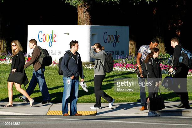 People walk past the Google Inc headquarters campus in Mountain View California US on Thursday July 15 2010 Google owner of the world's most popular...
