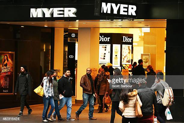 People walk past the Myer Melbourne department store on Bourke Street on July 30 2015 in Melbourne Australia Myer is dropping 100 national and...