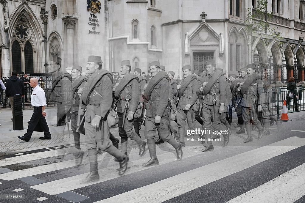 In this digital composite image a comparison has been made of London during World War I and Modern Day 2014 by Photographer Peter Macdiarmid LONDON...