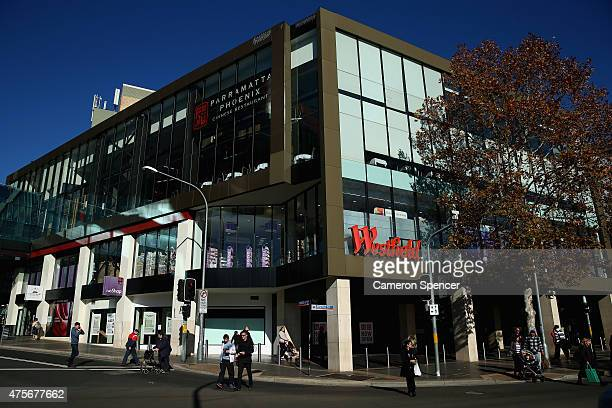 People walk past Westfield shopping centre in central Parramatta on June 3 2015 in Sydney Australia Parramatta is about to become one of Australia's...