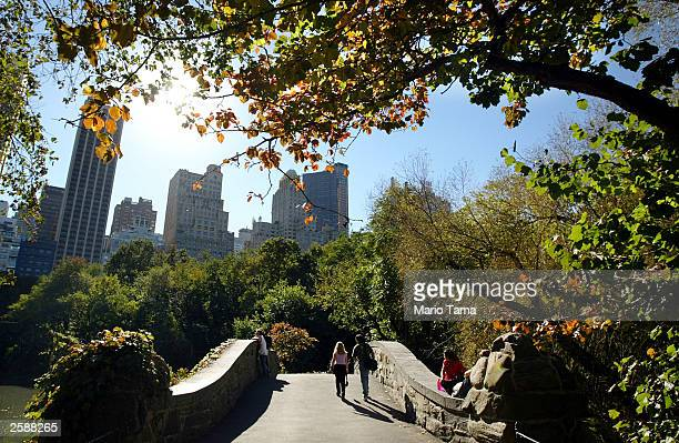 People walk through Central Park as the foliage begins to turn colors October 13 2003 in New York City New Yorkers enjoyed sunny skies and a high of...