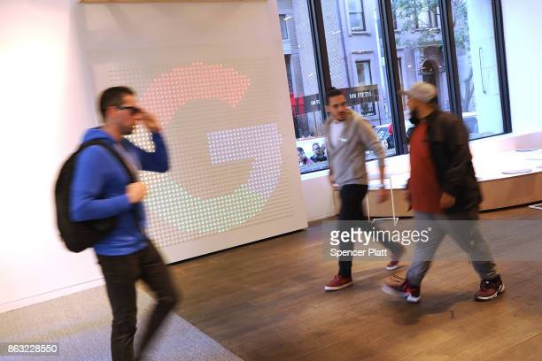 People walk through Google's New York City popup shop on October 19 2017 in New York City The temporary store in the Flatiron neighborhood of...