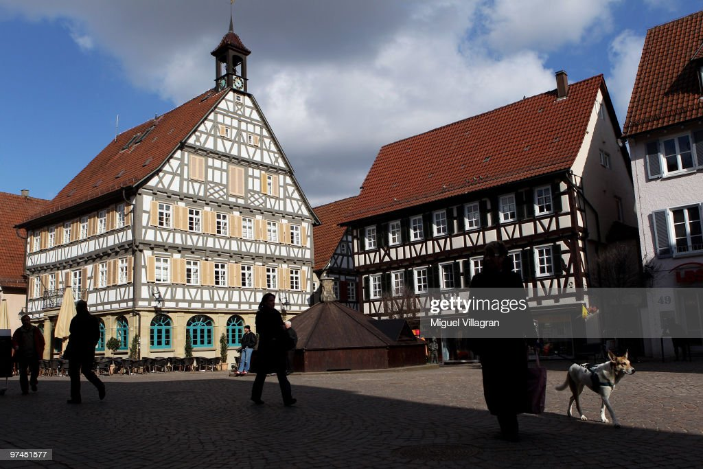 People walk through the pedestrian zone in the city center on March 5, 2010 in Winnenden, Germany. Tim Kretschmer opened fire on teachers and pupils at his former school on March 11, 2009, killing 15 and leaving many more injured. Kretschmer fled the scene and shot himself dead after being cornered by police.