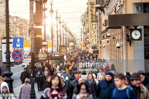 People walking along Nevsky Prospekt street. : Stock Photo