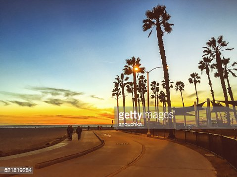 People walking along the beach, California, USA