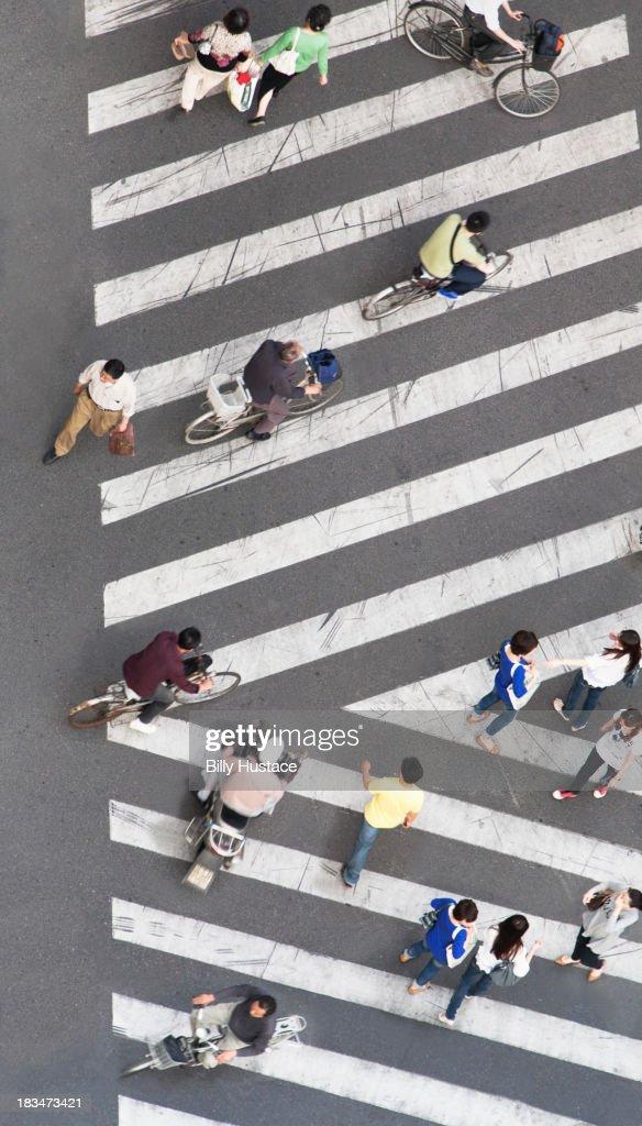 People walking and biking on a striped crosswalk
