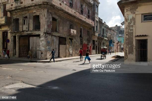 People walking at street of Centro Havana in Cuba