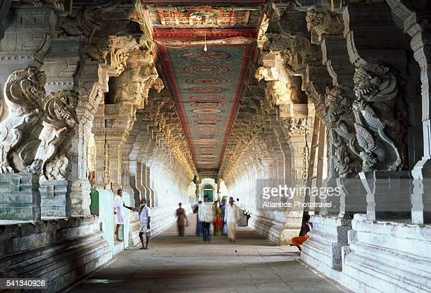 People Walking down Corridor in Ramanathaswamy Temple