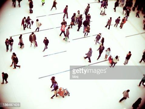 People walking in shopping mall, Hong Kong : Stock Photo