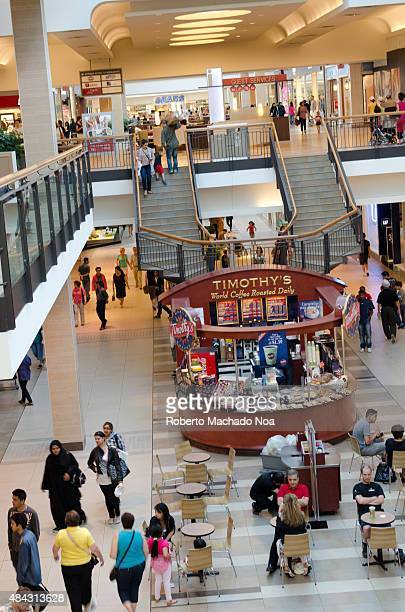 People walking in the hall of a large shopping center A small cafe Timothy's with visitors