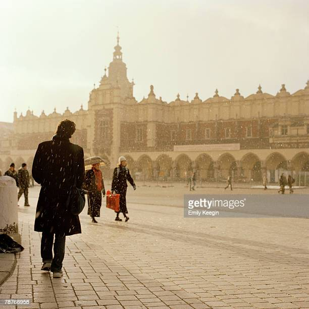 People walking in the Old Town in Krakow, Poland