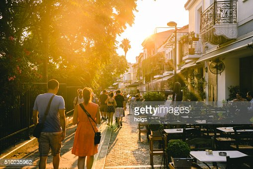 People walking in the streets of Athens in Greece