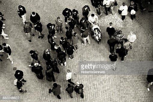 People walking on Charles Bridge Prague Aerial view