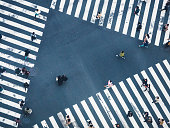 People walking on Crossing city street crosswalk top view Business background